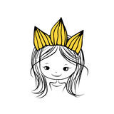 Girls princess with crown on head for your design Stock Photo