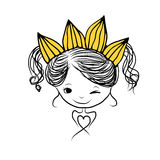 Girls princess with crown on head for your design Royalty Free Stock Photo