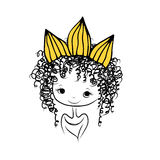 Girls princess with crown on head for your design Stock Images