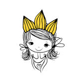 Girls princess with crown on head for your design Stock Photos