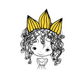Girls princess with crown on head for your design Royalty Free Stock Photos
