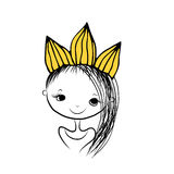 Girls princess with crown on head for your design Royalty Free Stock Image