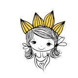 Girls princess with crown on head for your design Stock Photography