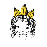 Girls princess with crown on head for your design Royalty Free Stock Images