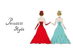 Girls princesses at the ball in dresses. Two women at the ball in the lush long dresses go hand in hand, vector, isolated Stock Photos