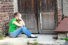 Girls with problems outdoor Stock Photo