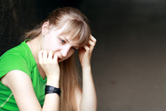 Girls with problems outdoor Royalty Free Stock Photos
