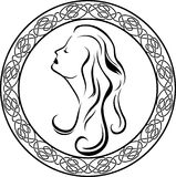Girls profile in Celtic circle Royalty Free Stock Images