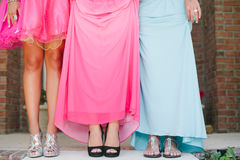 Girls in prom dress waist down. royalty free stock images