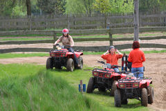 Girls in quad. Activ young girls in quad Stock Image