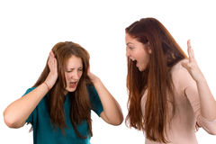 Girls quarrel Stock Images