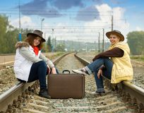 Girls on  railway Stock Image