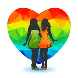 Girls and rainbow heart Stock Photo