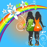 Girls and rainbow heart Stock Image