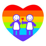 Girls and rainbow heart Royalty Free Stock Image
