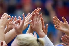 Girls raising hands in volleyball match royalty free stock photo