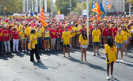 Girls at rally demanding independence for Catalonia Royalty Free Stock Photo