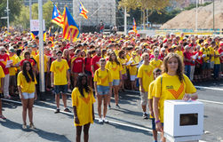 Girls at rally demanding independence for Catalonia Stock Photos