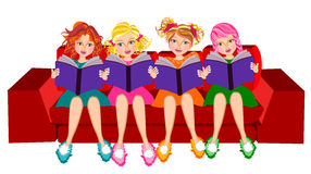 Girls read book. Four cute kids girls reading book isolated. Best friends concept illustration Royalty Free Stock Photography