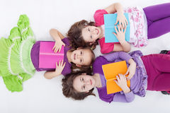 Girls reading afternoon Royalty Free Stock Image