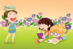 Girls reading books Royalty Free Stock Images
