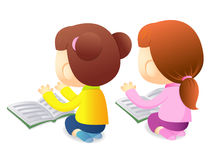 Girls are reading a large book. Education and life Character Des Royalty Free Stock Image