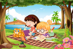 Girls reading under trees in beautiful park. Illustration Royalty Free Stock Images