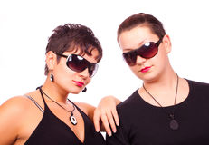Girls with red lips. Two young girls posing on white background Stock Images