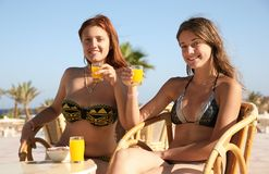 Girls  at resort hotel Royalty Free Stock Photos