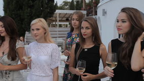 Girls on the restaurant terrace with a gorgeous stock footage