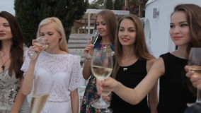 Girls in the restaurant terrace with a gorgeous stock footage