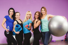 Girls resting after fitness training conducted. Royalty Free Stock Photos