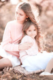 Girls resting outdoors Royalty Free Stock Photo