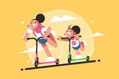 Girls riding kick scooter Stock Photo