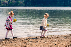 Girls and river stock images