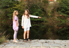 Girls by the river Royalty Free Stock Photography