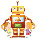 Girls and robot Stock Photography