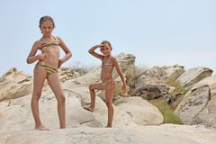 Girls on the rocks Royalty Free Stock Photography