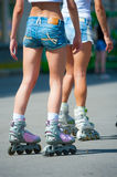 Girls on roller skates Royalty Free Stock Photo
