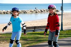 Girls rollerblade Stock Photo
