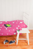 Girls room. Girls bedroom with pink bed Royalty Free Stock Image