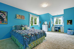 Girls room interior in bright blue color Stock Images