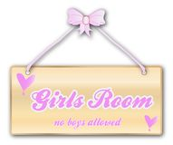 Girls Room Sign. Girls room plaque in woodgrain with pink ribbon and bow over a white background with love cartoon hearts vector illustration