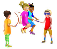 2 girls rope skipping together holding hands. 4 children having fun and laughing while 2 girls are jumping / skipping rope Stock Photos
