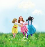 Girls roundelay, Happy little girls dancing Summer Sunny  Day poster watercolor