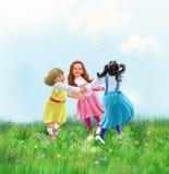 Girls roundelay, little girls dancing Summer poster. Little Girls dancing, Summer holiday. Poster, Children's roundelay in Holiday, Kids, Cartoon illustration stock illustration