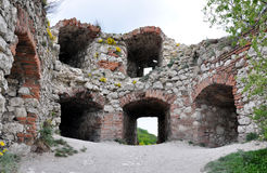 Girls ruins of castles, Moravia, Czech Republic, Europe Royalty Free Stock Images