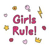 Girls rule quote. Hand drawn quote Girls rule, with flowers, hearts, star, lightning bolt, golden crown, Venus mirror.  objects on white background. Vector Stock Photo