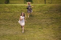 Girls run from hill on green grass on summer day Stock Image