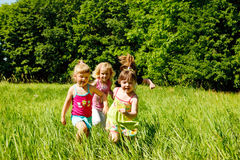 Girls running Royalty Free Stock Image